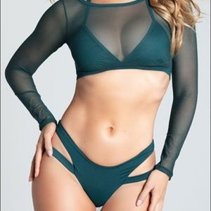 Yandy Hunter Green Bikini with Mesh Top